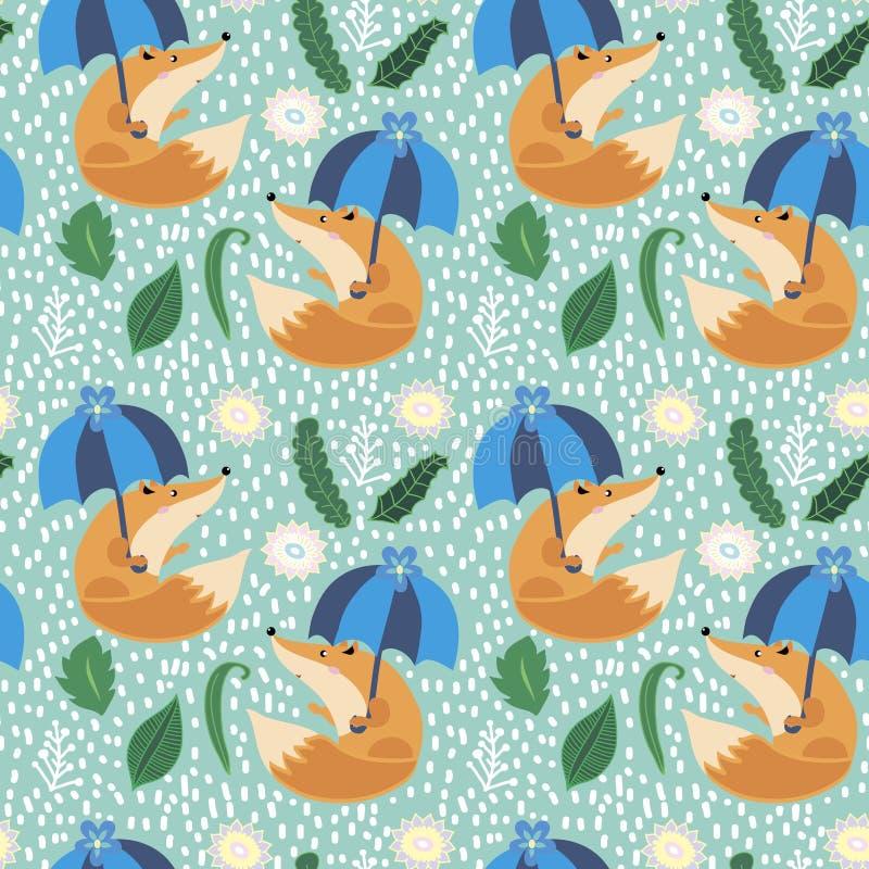 Fox pod parasolem obraz stock