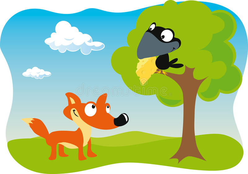 Fox and the Raven with cheese. Holding in beak vector illustration