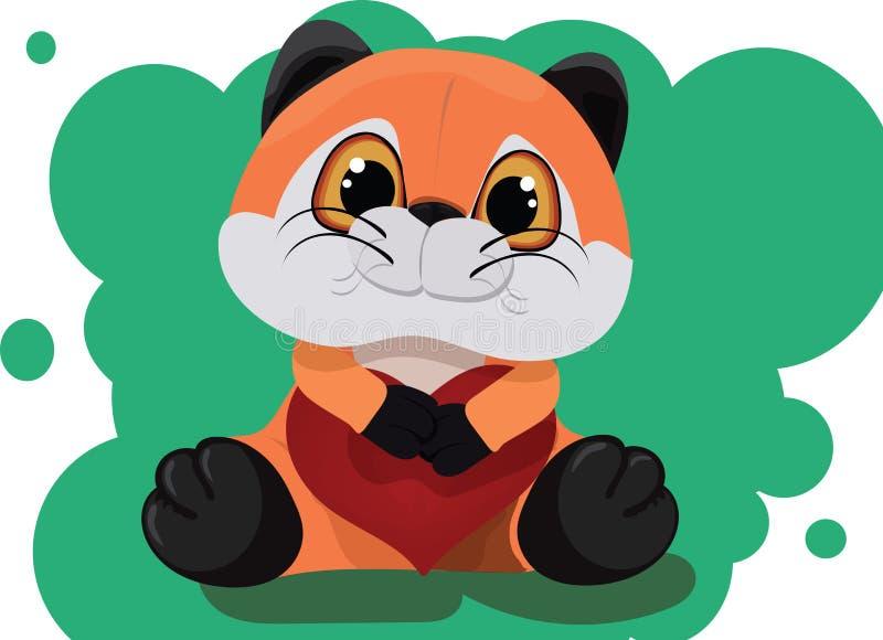 Fox relleno del juguete con un corazón imagen de archivo