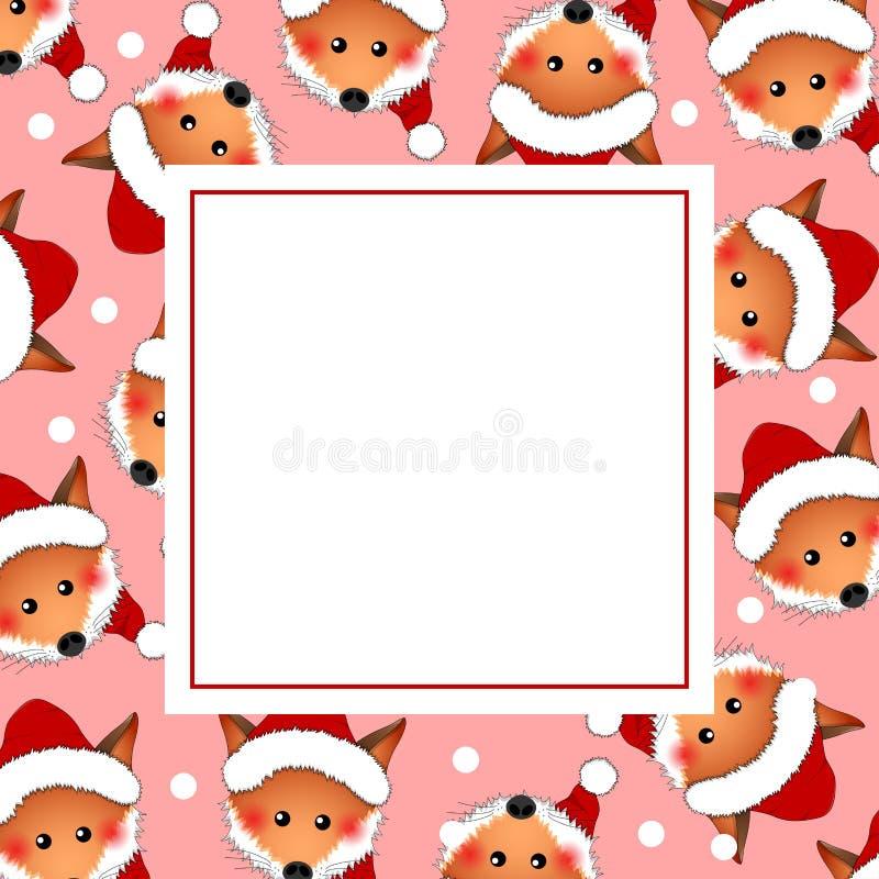 Fox rojo Santa Claus en tarjeta rosada de la bandera de la Navidad Ilustración del vector ilustración del vector