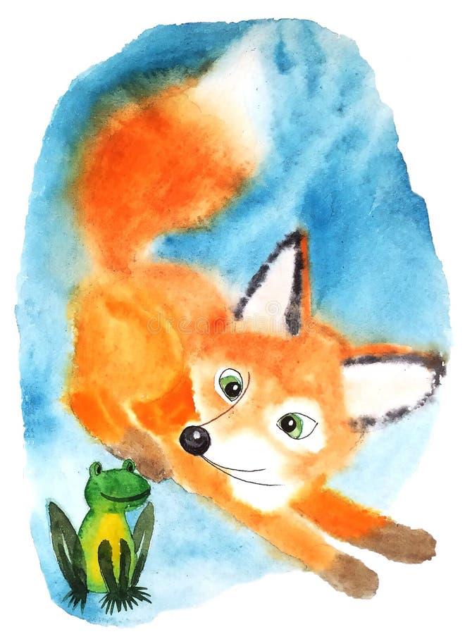 Fox rouge pelucheux dans la surprise regardant la grenouille verte illustration stock