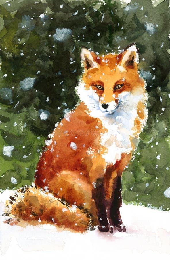 Fox se reposant sur l'illustration d'animaux d'aquarelle de neige peinte à la main illustration de vecteur
