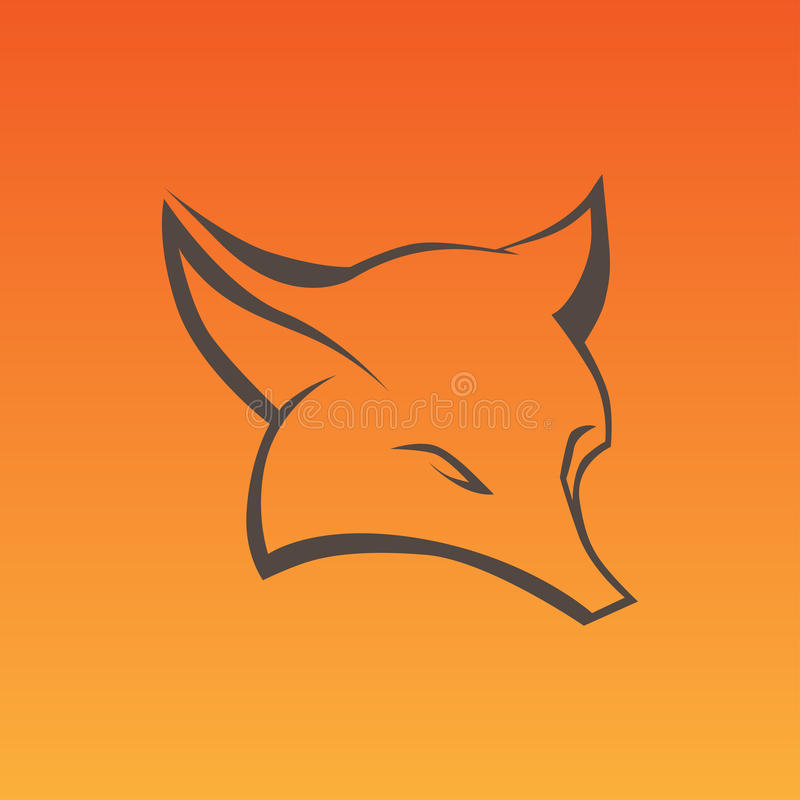 Fox sign in curve lines royalty free illustration