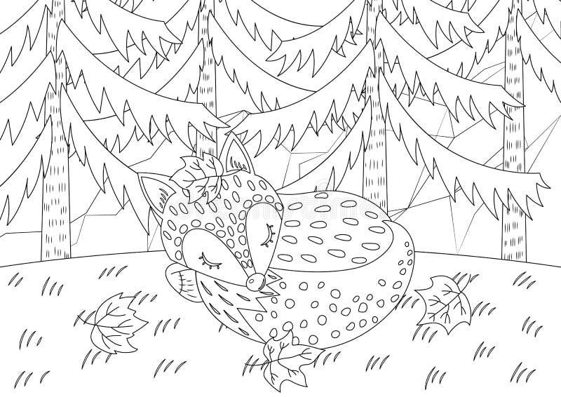 A Fox Sleeping in Jungle Colorless. A fox sleeping in jungle vector illustration cartoon. Fox sleeping in jungle colorless for coloring book. Meditation coloring stock illustration
