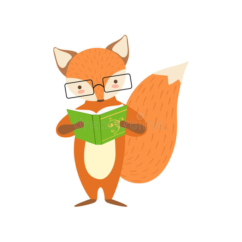 Fox Smiling Bookworm Zoo Character Wearing Glasses And Reading A Book Cartoon Illustration Part Of Animals In Library vector illustration