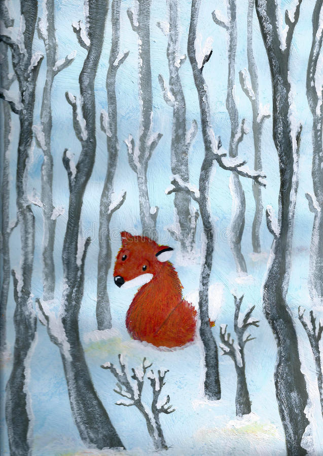 Fox in the snow. Acrylic painting about a cute little fox in a snowy woodland