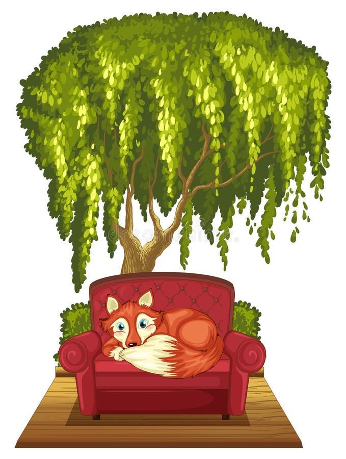 Fox on sofa. Illustration of a fox resting on a sofa vector illustration