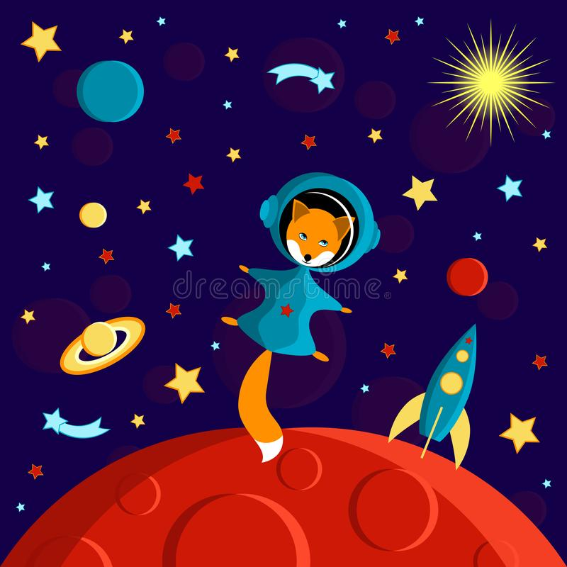 Fox in a spacesuit on a red planet. Moon, Sun, Saturn, Earth, other planets, rocket. Stars, comets, space. Fox in a spacesuit on a red planet. Moon, Sun, Saturn stock illustration