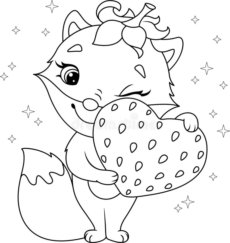 fox strawberry coloring page cute heart