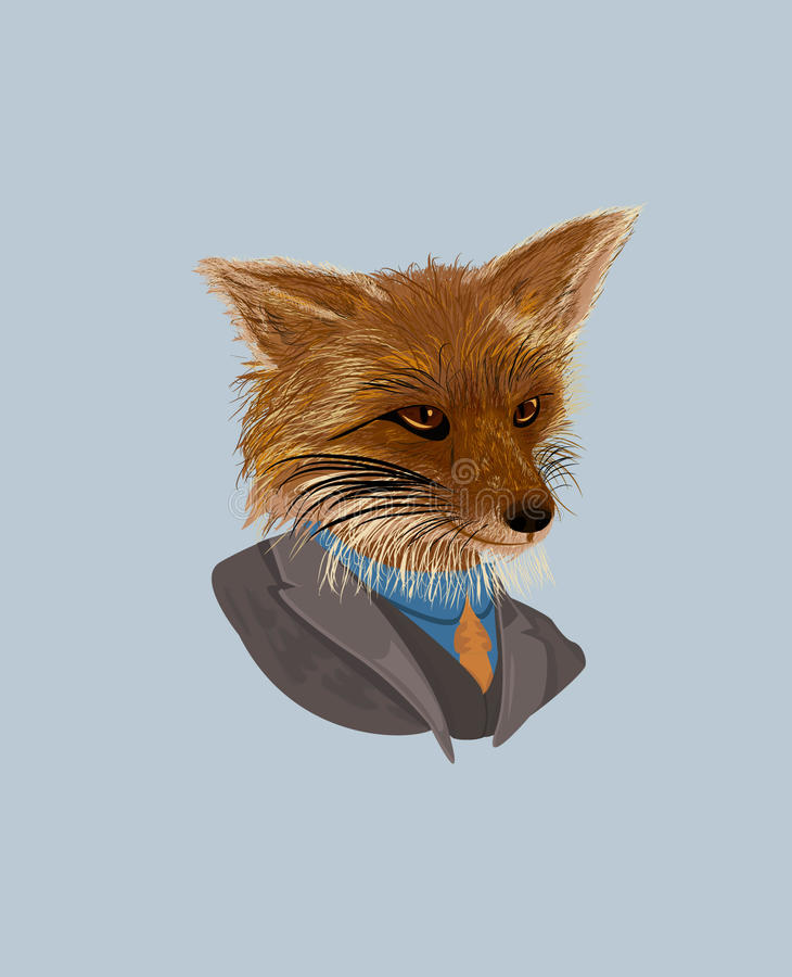 Fox in a suit, dapper fox, vector. Dapper fox in a grey suit made with brushes. The file is saved in eps10 and without transparencies vector illustration