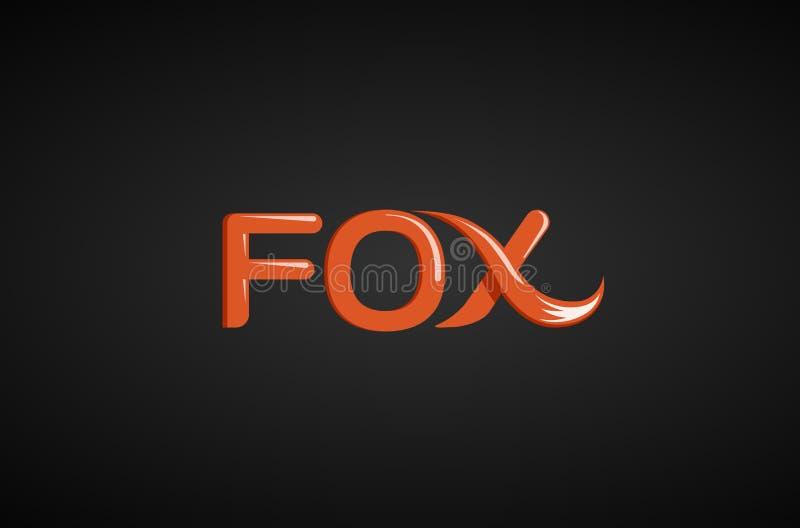 Fox teksta ogonu teksta typografii loga projekta ilustracja royalty ilustracja