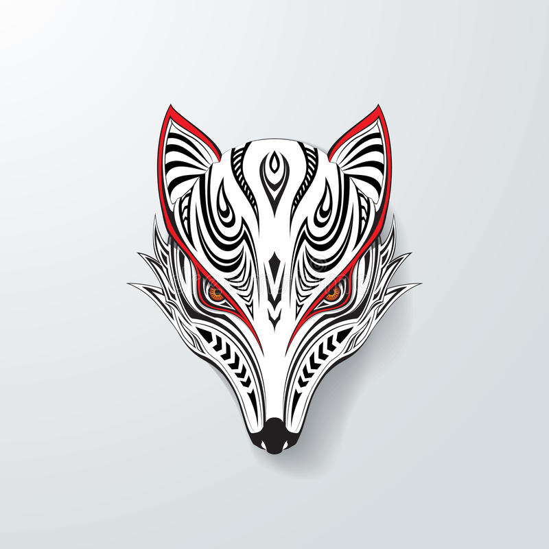 Fox tribal blanco ilustración del vector