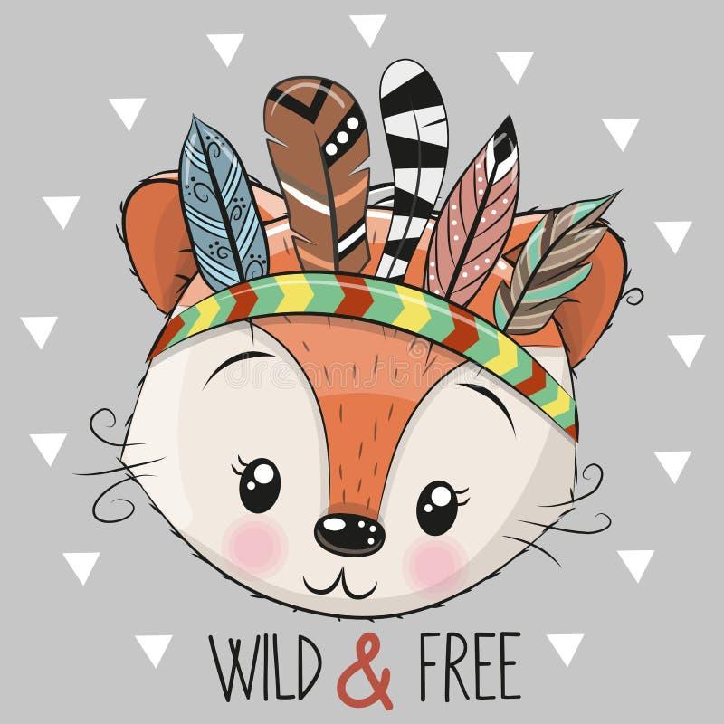 Fox tribal dos desenhos animados bonitos com penas ilustração stock
