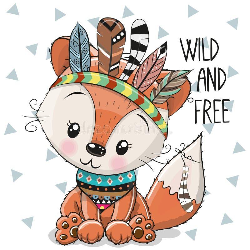 Fox tribale del fumetto sveglio con le piume illustrazione vettoriale