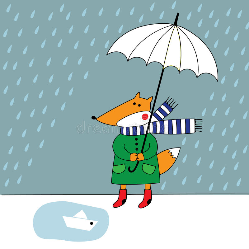 Fox with umbrella in the rain royalty free stock images