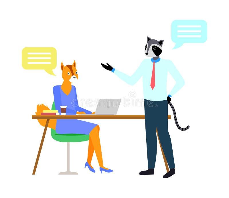 Fox und Waschbär-Hippie-Tier, Arbeitsplatz-Vektor lizenzfreie abbildung