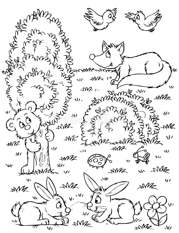 Fox, urso, lebres e pássaros ilustração do vetor