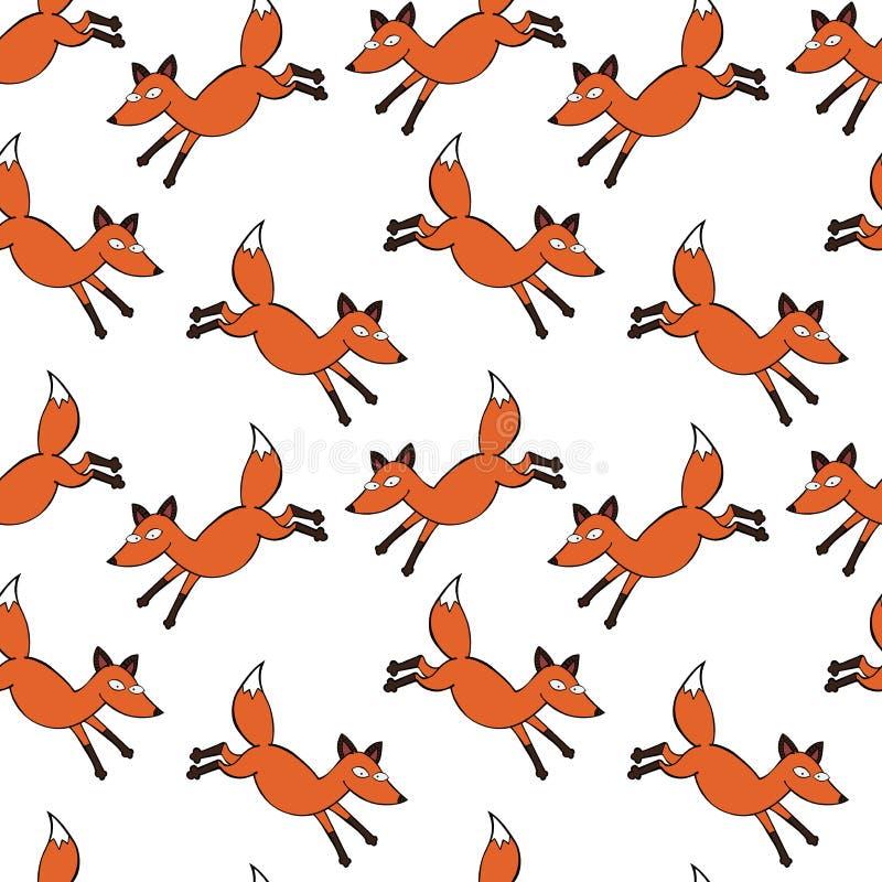 Fox vermelho Fundo sem emenda do teste padrão do vetor foto de stock royalty free