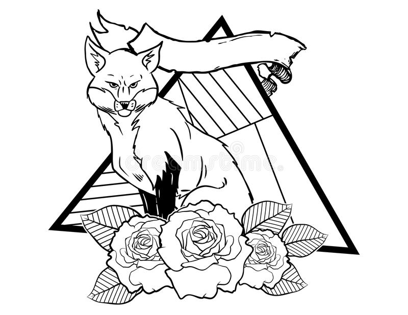 Fox vintage neo traditional tattoo black and white sketch. tattoo and t-shirt designs. Hand drawn retro animal tattoo sketch with roses in vintage style. ornate royalty free illustration