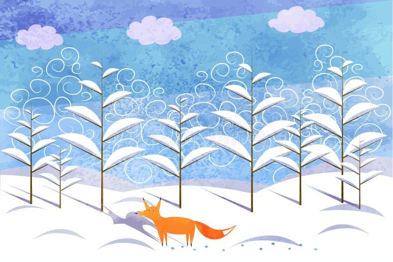 Fox w zima lesie drzewa w śniegu royalty ilustracja