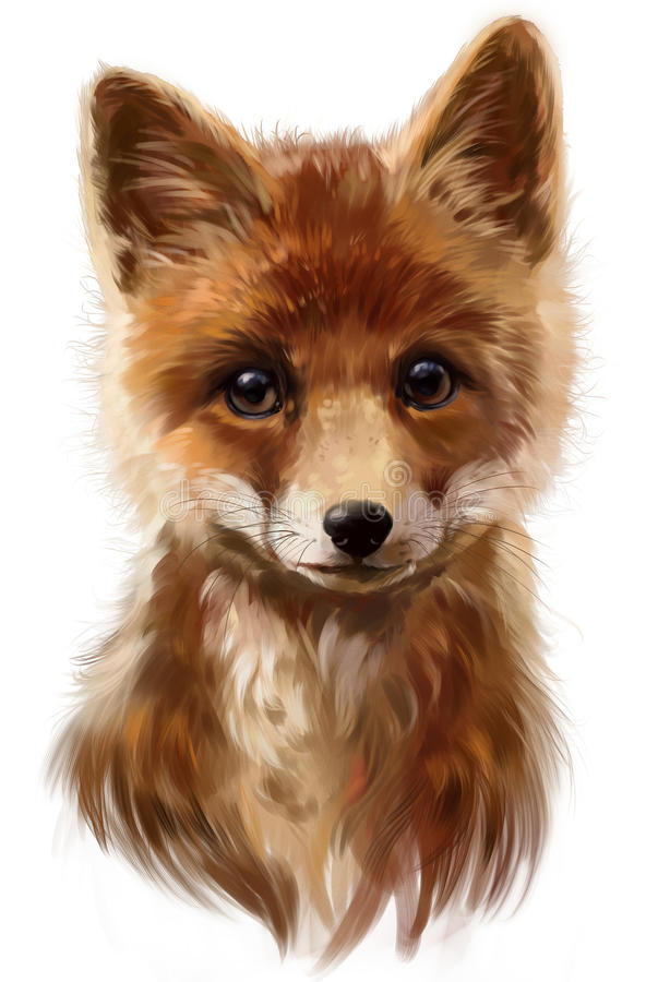 Fox watercolor painting royalty free illustration
