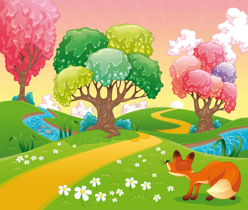 Fox in the wood. Funny cartoon and scene. Isolated objects
