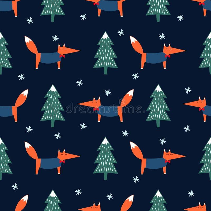 Fox, xmas drzewo i płatka śniegu bezszwowy wzór na błękitnym tle, ilustracji