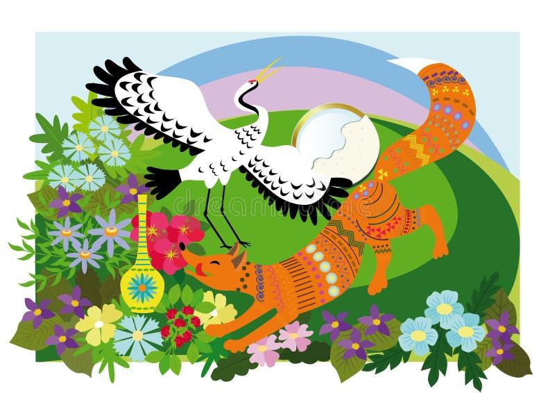 Fox y la grúa ilustración del vector