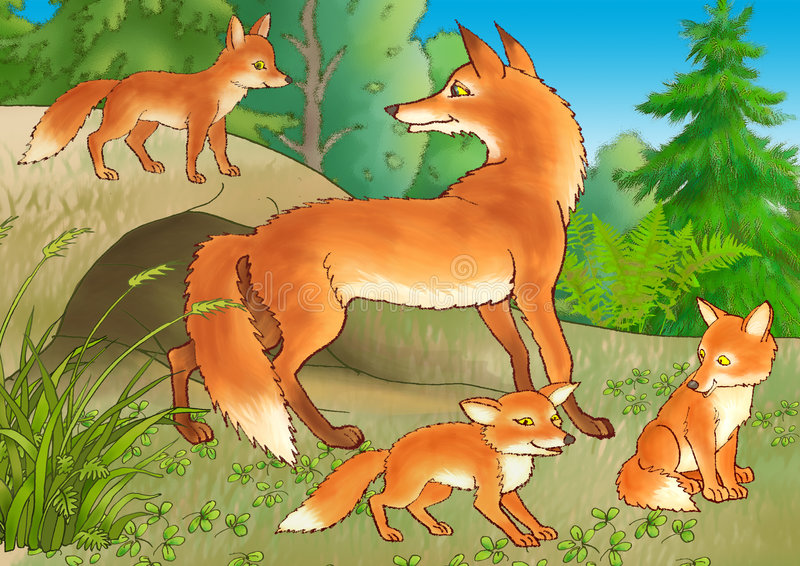 Download The fox and young foxes stock illustration. Image of hole - 7937479