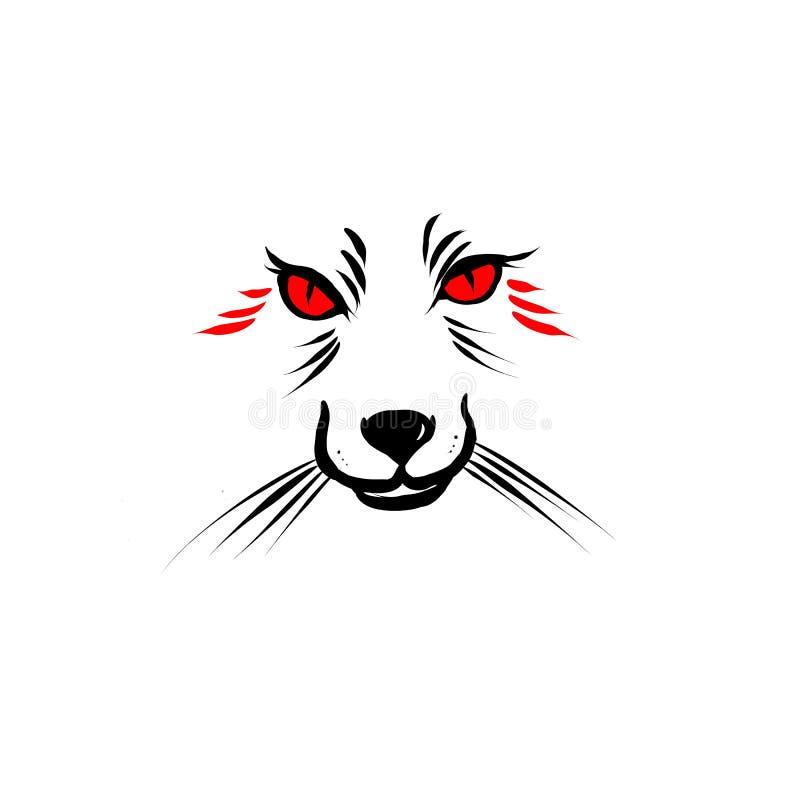 Fox z czerwieni oczu konturami royalty ilustracja