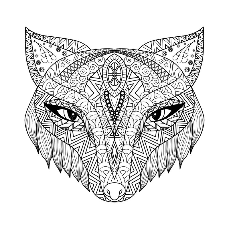 Fox zentangle style for coloring book for adults. Fox zentangle or Boho style for coloring book for adults royalty free illustration