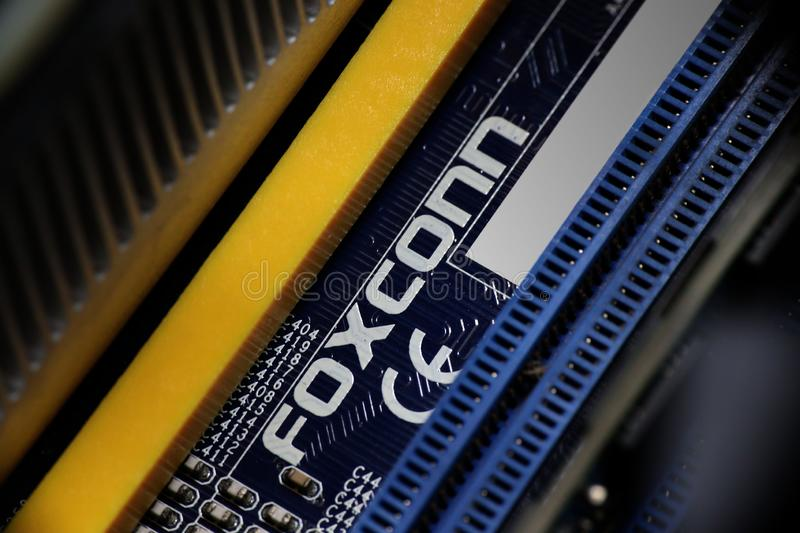 Foxconn Logo On Motherboard. Close-up of the Foxconn logo on a Foxconn manufactured personal computer motherboard royalty free stock photography