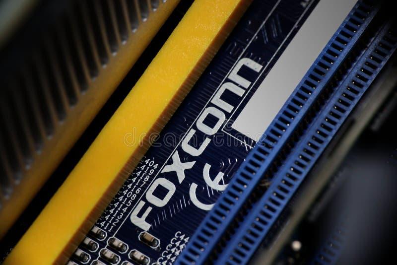 Foxconn Logo On Motherboard fotografia de stock royalty free