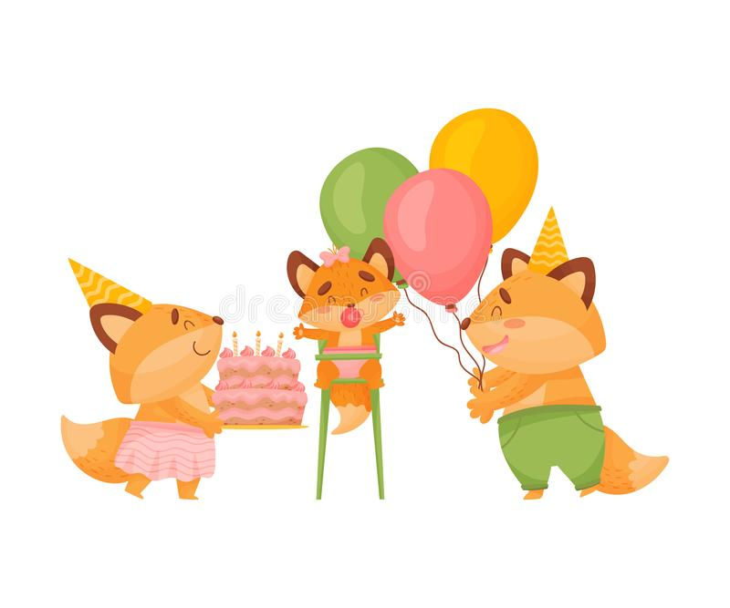 Foxes dad and mom wish happy birthday to a little daughter. Vector illustration on a white background. stock illustration