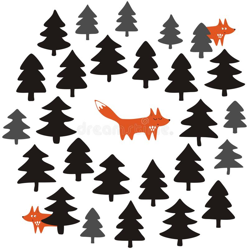 Foxes in a black forest on white background illustration royalty free stock image