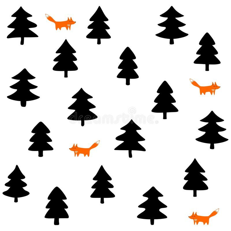 Foxes in a forest on white background royalty free stock photo