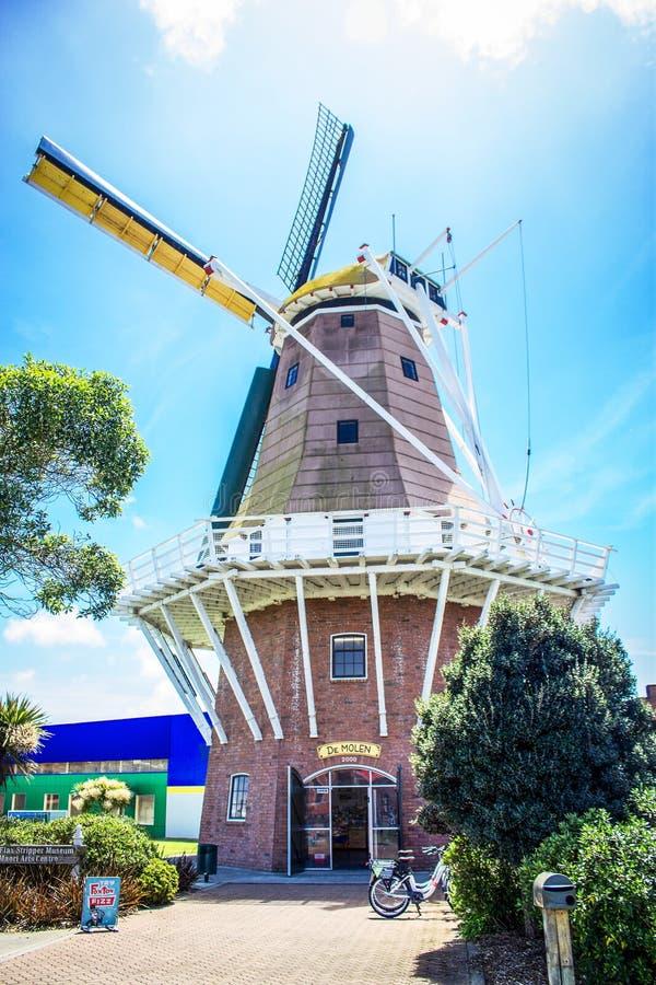 Foxton, Nieuw Zeeland - 28 November 2015: DE Molen Windmill royalty-vrije stock fotografie