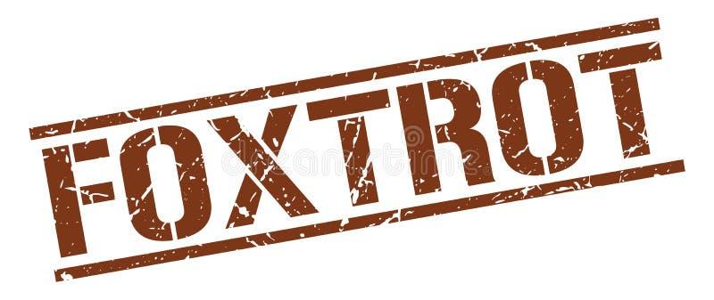 foxtrot bruine grunge vierkante uitstekende zegel stock illustratie