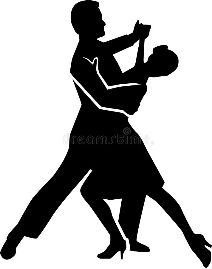 Foxtrot dancing couple royalty free illustration