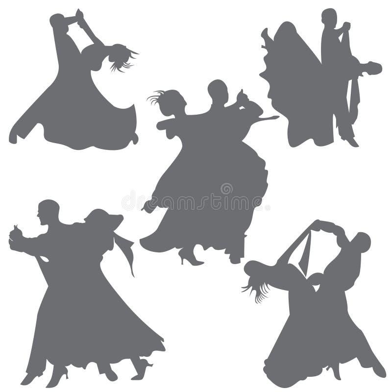 Foxtrot el vector de la silueta de la danza de los pares de la danza de salón de baile de la danza ilustración del vector