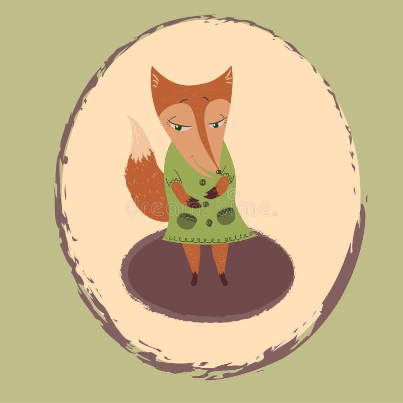 Foxy in groen royalty-vrije illustratie