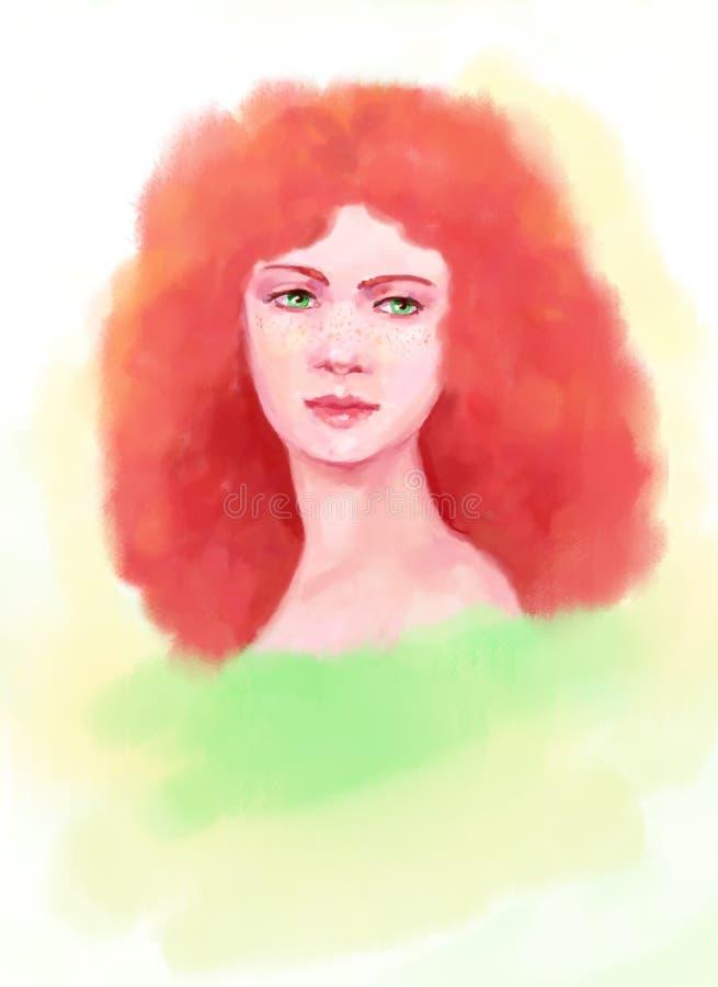 Foxy haar van schoonheidsmeisje stock illustratie