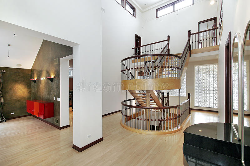 Foyer with double staircase royalty free stock image