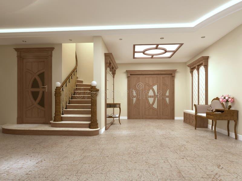 Foyer in einem Luxushaus in einer klassischen Art mit einem Treppenhaus stock abbildung
