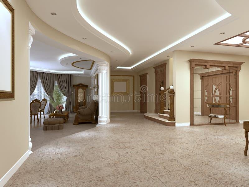 Foyer in einem Luxushaus in einer klassischen Art mit einem Treppenhaus lizenzfreie abbildung