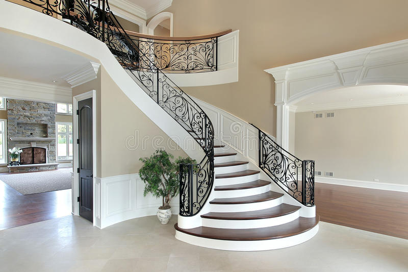 House Foyer Xl : Foyer with grand staircase stock image of