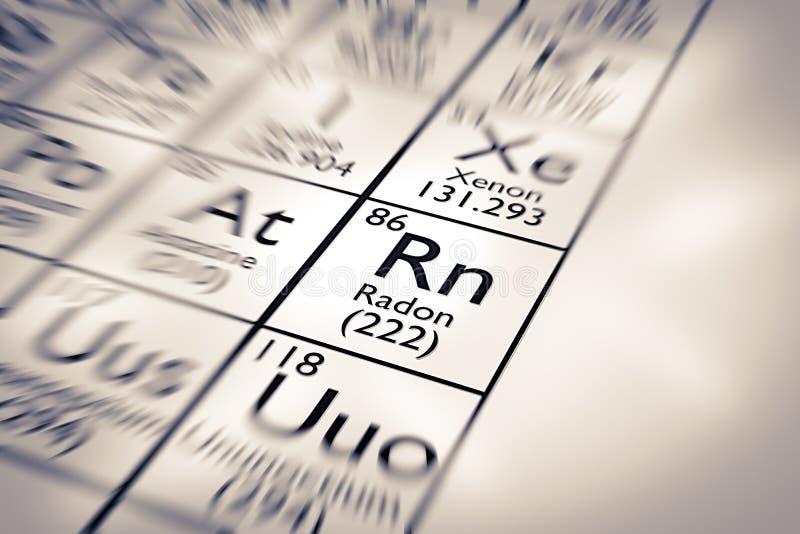 Foyer sur l'élément chimique de radon images libres de droits