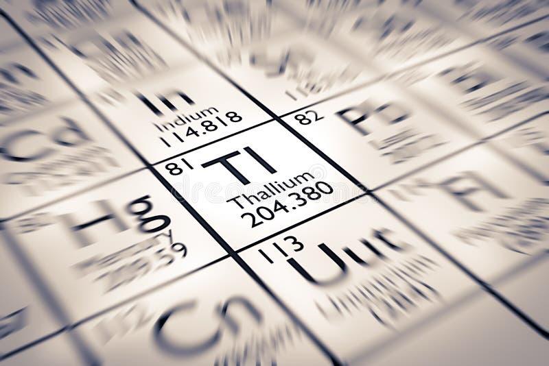 Foyer sur l'élément chimique de thallium photo libre de droits