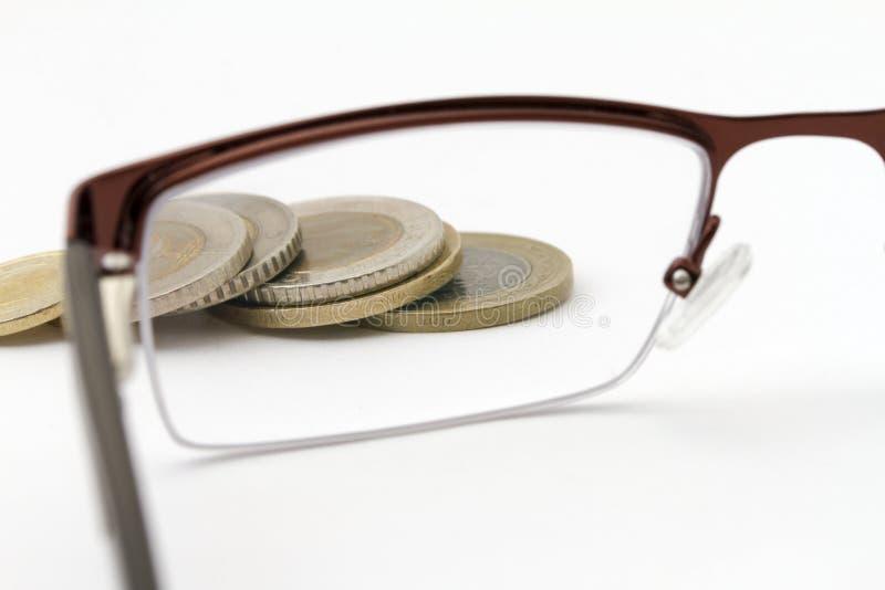 Foyer sur l'argent - pièces de monnaie photos stock