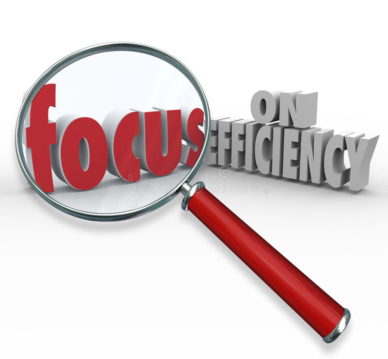 Foyer sur la loupe d'efficacité recherchant des idées efficaces illustration stock